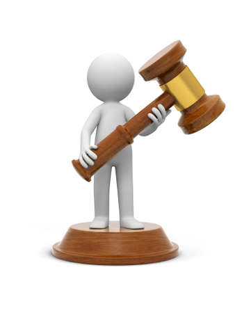 arbitrate: A 3d people carrying a gavel, standing