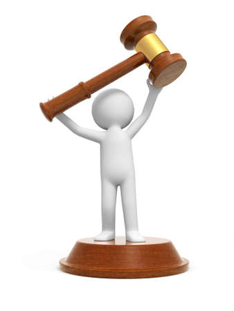 legality: A 3d people carrying a gavel, standing