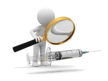 immunization: A 3d white doctor  syringe  needle  magnifying glass
