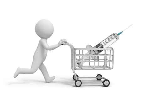 medical equipment: A 3d white doctor  syringe  needle  syringe for injection  shopping cart Stock Photo