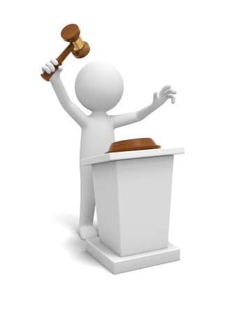 auctioneer: A 3d white people  gavel  stage  auction