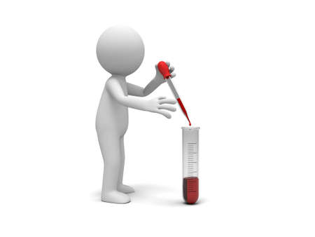 A 3d little human character  test tube  red reagent Stock Photo - 22175824