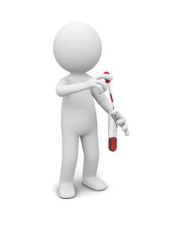 chemical hazard: A 3d little human character  test tube  red reagent