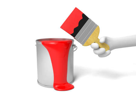 A brush  red paint in a  paint bucket photo