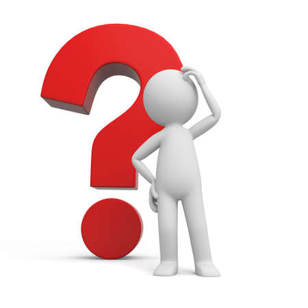 asking question: A 3d human character  a question mark background