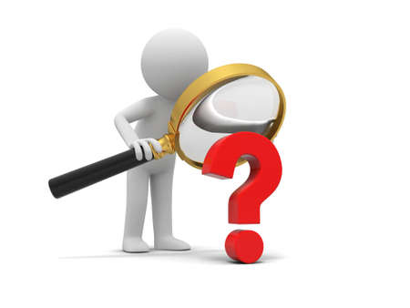quality questions: A 3d human character  a question mark  magnifying glass Stock Photo