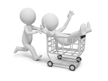 Un panier boutique de shopping caractère humain 3D Banque d'images - 22175870
