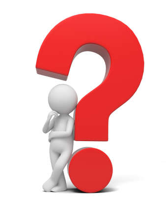 A 3d human character  a question mark