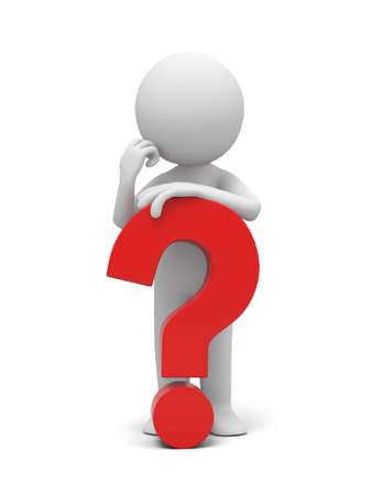Fragezeichen: Ein 3D menschlichen Charakter mit einem Fragezeichen