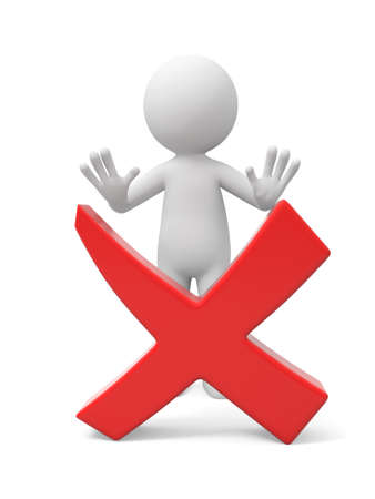disallowed: A 3d man standing behind red check mark