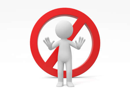 do not: A 3d man standing , a stop symbol background