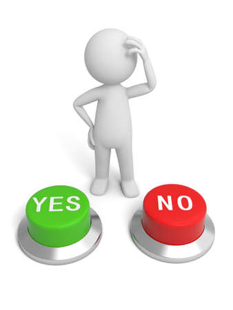 A 3d people making a choice behind the yes no button photo