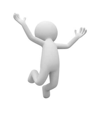 격리 된 흰색 배경에 점프 3d 남자 문자