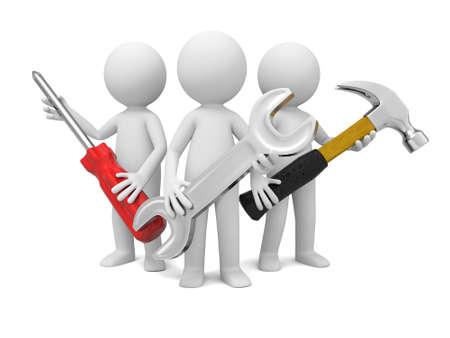 herramientas de mecánica: 3 trabajadores de la industria 3D con destornillador, martillo y llave Foto de archivo