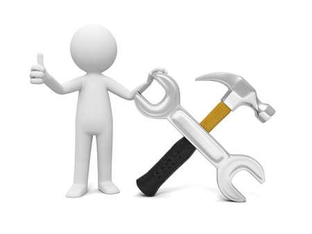 herramientas de mecánica: Un trabajador industrial en 3D que muestra el pulgar hacia arriba con la llave y el martillo Foto de archivo