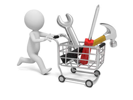 retail equipment: 3d man pushing a cart with hammer, wrench, and screwdriver Stock Photo