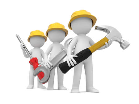 screwdriver: 3 3d men with hammer, wrench, and screwdriver Stock Photo