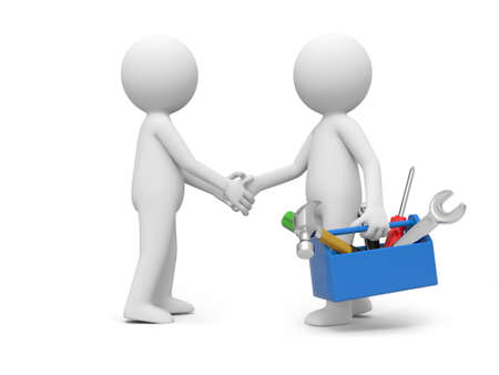 A 3d man with toolbox shaking hands with another one