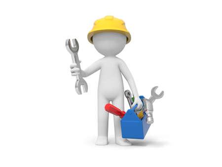 herramientas de mecánica: Un técnico 3d que sostiene una caja de herramientas, herramientas en la caja