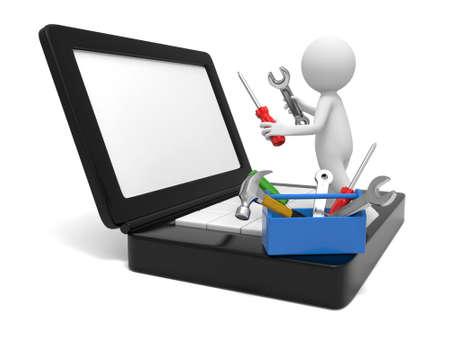 Een 3d man repareren van een computer met hulpmiddelen
