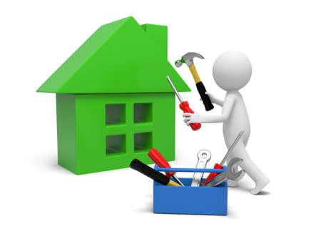 Een 3d man repareren van een huis met hulpmiddelen