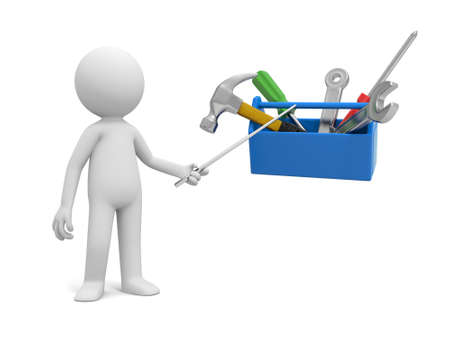 toolbox: A 3d man pointing at the tools in the toolbox