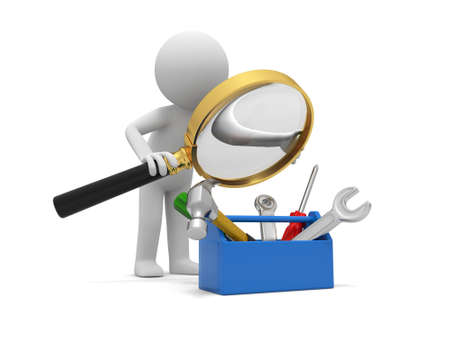 A 3d man watching the tools in the toolbox with a magnifying glass photo