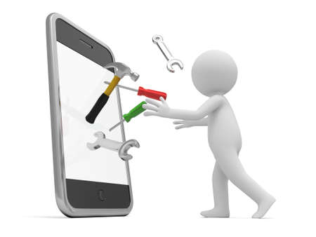 repair man: A 3d man with a hammer, wrench, and screwdriver out of mobile phone
