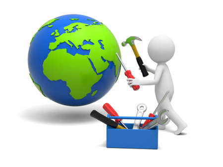 A 3d man repairing the globe with hammer and screwdriver