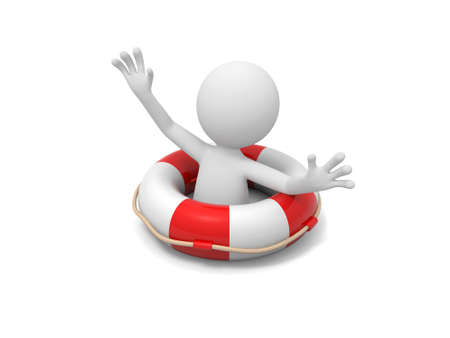 lifebuoy: A 3d man shouting for help with a lifebuoy Stock Photo
