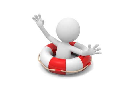 life: Un homme 3d crier à l'aide d'une bouée de sauvetage