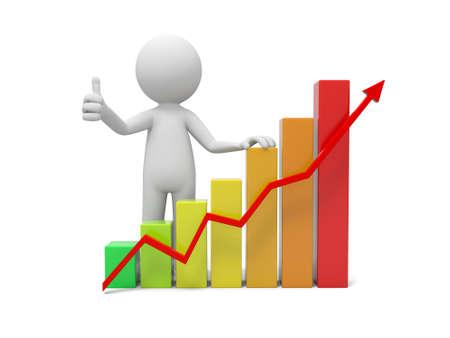 横棒グラフと赤の矢印と 3 d の人々