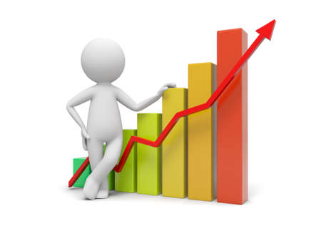 human figures: 3d people with bar chart and red arrow