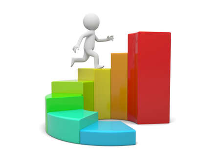 3d man running toward the top of the colorful business graph photo