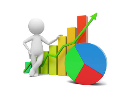 business success: 3d man standing beside the colorful business graph