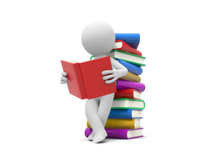 3d man reading a book, leaning back against a pile of books photo