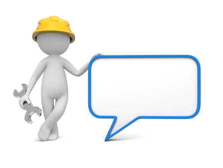 3d worker, technician with blank speech bubble photo