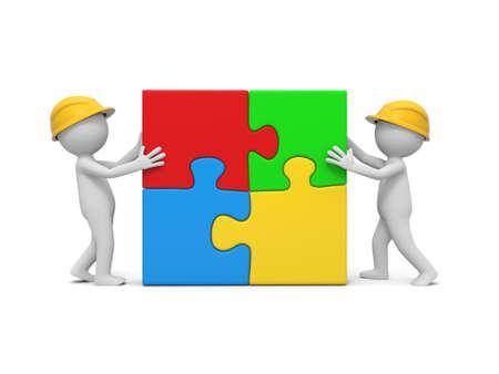 due 3D uomo assemblare 4 pezzi del puzzle Archivio Fotografico