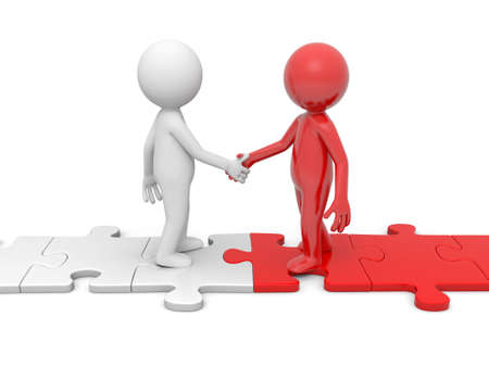 alliance: Two 3d people shaking hands on puzzle pieces