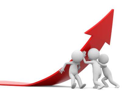 3d les gens qui poussent flèche rouge Concept de solution Banque d'images - 22392361