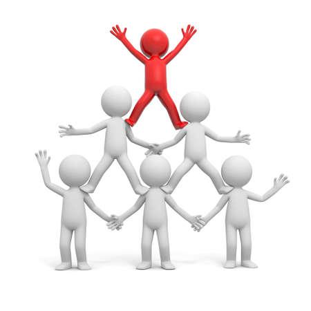 piramide humana: 3d hombre rojo, persona de pie en la pir�mide
