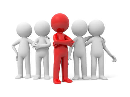 isolated people: 3d people in group, team and the leader