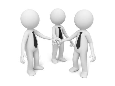 joining hands: 3d men, people together ,business team  joining hands Stock Photo