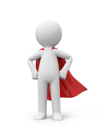 3d superman, standing in red raincoat Stock Photo - 23438811
