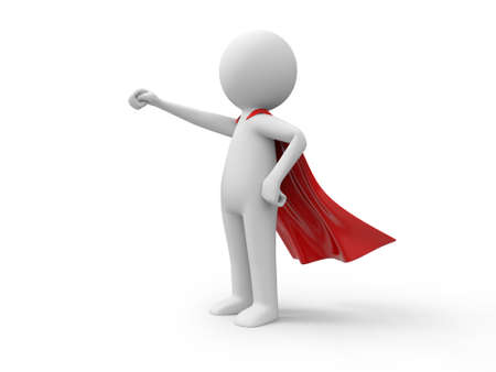 3d superman,  standing in red raincoat Stock Photo - 23438812