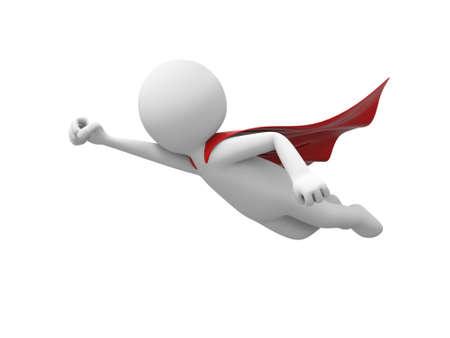 3d superman, vliegen in rode regenjas