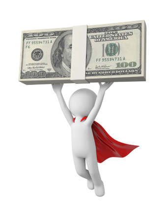 3d superman,  flying in red raincoat with money in hand Stock Photo - 23438913