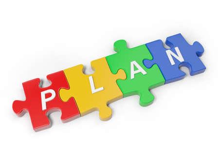 "link building: 3d word ""PLAN"" on four puzzle pieces"
