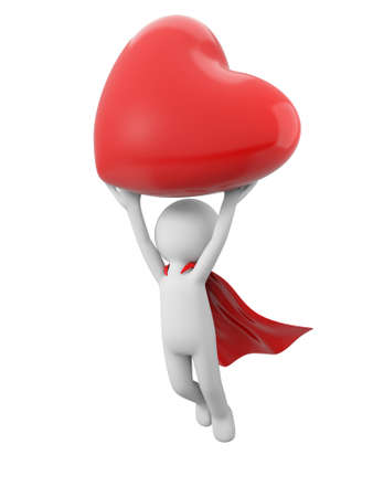 3d superman holding red heart on white background