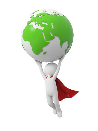 3d superman,  flying in red raincoat with earth in hand Stock Photo - 23438923